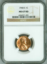 1968 S NGC MS67 RD Lincoln Cent, FINEST REGISTRY, Pop 25 None Finer, Rare Beauty