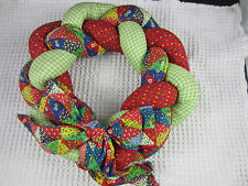 "vintage puffy cloth calico braided colorful Christmas Wreath 14"" Nina Fredrich"