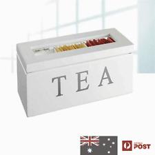 UniGift Wooden Tea Storage Box 3 Compartments White New in Box HOME DECOR GIFT