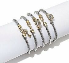 "EMMA SKYE YELLOW ""STACKED TO THE SKYE"" 5 STAINLESS STEEL MEDIUM-LARGE BRACELET"