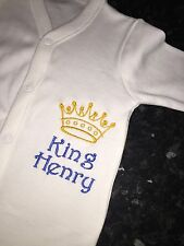 PERSONALISED Baby Grow Embroidered SLEEPSUIT King Queen Boy Girl ANY NAME