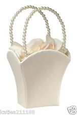 New wedding plain satin ivory with vintage pearl handle flower girl basket