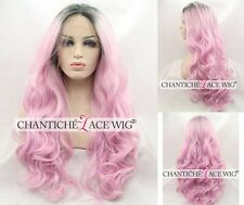 Women's Synthetic Hair Lace Front Wig Ombre Dark Roots&Pink Long Wavy Heat Safe