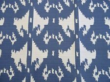 AWESOME DESIGNER MIARIACHI IKAT BLUE OFF WHITE UPHOLSTERY FABRIC OUTLET BTY
