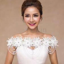 White Lace Wedding Bridal Peral Cystal Shawl Wrap Cape Bolero Jacket Shrug