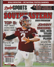 LINDY'S SPORTS MAGAZINE SEC COLLAGE FOOTBALL 2013 PREVIEW, JOHNNY ENCORE COVER.