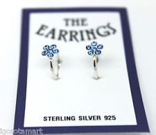 VERY GOOD MENS LADIES HOOP RING 925 SILVER DARK BLUE FLOWER EAR STUD EARRINGS