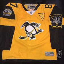 SIDNEY CROSBY PITTSBURGH PENGUINS 2017 STADIUM SERIES YELLOW JERSEY SIZE LARGE