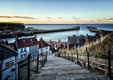 A5 Greeting Card and envelope. Whitby 199 steps at Twilight. WH02