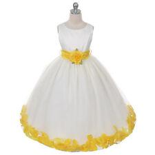 IVORY Flower Girl Dress Petals Wedding Bridesmaid Recital Formal Birthday Party