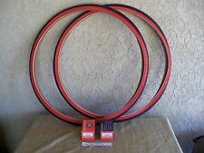 [2]   27 X 1-1/4 RED-WALL TIRES & [2] TUBES. FOR YOUR ROAD BIKE