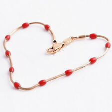 Classic Womens Red Enamel 14K Real Gold Filled Lucky Snake Rope Chain Bracelet