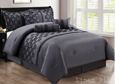 Modern Flocked Comforter Gray Purple Blue Black Queen Cal King MORE SIZE & COLOR