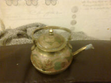 VINTAGE ANTIQUE INDIAN BRASS TEAPOT RED BLUE YELLOW ENAMEL DESIGN 8CM DIAM