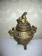 LARGE  JAPANESE ANTIQUE CHEMPLEVE  AND CLOISONNE KORO INCENSE BURNER
