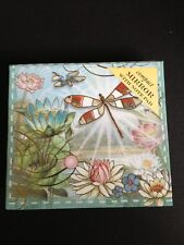 NEW Punch Studio Compact Mirror With Note Pad ~ Dragonfly Water Lily