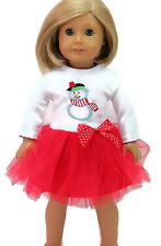 """Doll Clothes for 18"""" American Girl - Red & White Snowman Dress"""