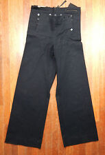 Vintage WWII Wool Navy Blue Sailor Bell Bottom Pants 34 x 33 14 Button Lace Back