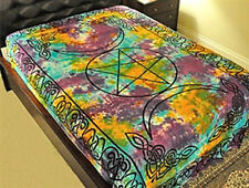 """TRIPLE MOON PENTACLE TAPESTRY Wall Hanging Altar Table-Light Bedspread-72""""x108"""""""