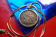 "Roaring 20's 1924 French Art Neuvo Coin Pendant on a 24"" Gold Filled Snake Chain"