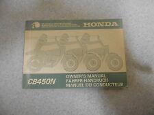 Pilote manuel owner`s mode d'emploi Honda CB 450 N (PC14) ab 1985 du conducteur