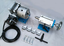 CNC Router Rotary Axis A 4th Axis 4 Jaw 100mm Chuck Tailstock Reduction Gear Box