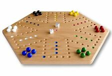 "Oak Wood Hand-Painted 20"" Aggravation Board Game, Double-Sided"