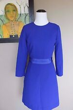 NWT J Crew Double Faced Wool Crepe Dress 0 Extra Small XS C1063 $228 Blue