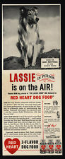 1947 RED HEART Dog Food - LASSIE - COLLIE - The Lassie Show -  VINTAGE AD