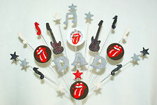 ANY  NAME,  AGE,  MUSIC, ROLLING STONE LOGO (any logo) BIRTHDAY  CAKE TOPPER