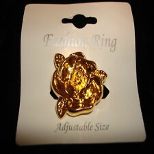 "designer fashion ring goldtone large flower 1.35"" new"