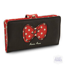 Authentic Disney Parks Minnie Mouse Bow Wallet Iconic Red Bow with Polka Dots