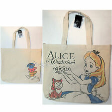 Disney Alice In Wonderland TEA CUPS Natural Canvas Beach Hobo Tote Bag Purse NEW