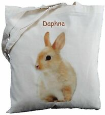 PERSONALISED RABBIT COTTON SHOULDER BAG Bunny Shopper
