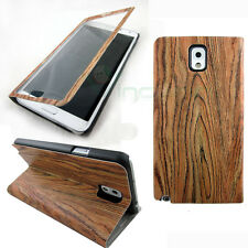 Custodia pelle FLIP touch screen LEGNO cover STAND p Samsung Galaxy Note 3 N9005