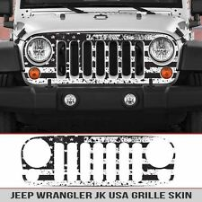 Jeep Grille Skin USA Distressed Flag Grill die cut Fits: Jeep Wrangler JK 07-16
