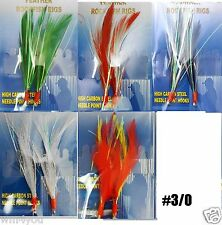 20packs Random color size #3/0 Fishing Two Hook Feather Rockfish Rigs Lures New