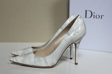 New sz 7 / 37 Christian Dior White & Gray Leather Pointed Toe Classic Pump Shoes