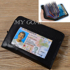 Lock Wallet Slim RFID Blocking Leather  Fraud Protect Cards  Zipped Wallet