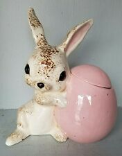 VTG CERAMIC BUNNY RABBIT SCULPTURE BOX STATUE FIGURINE EASTER EGG Atlantic Mold?