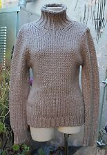 MUGLER Made in Italy $1100 Beige W Gray & Silver Thread Chunky Knitted Sweater