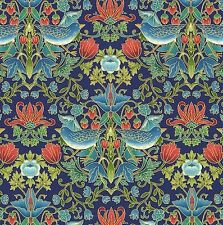Essex - Mirrored Birds & Lotus - Navy Blue/Gold by Chong-A Hwang cotton fabric