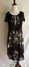 Dzhavael Couture M Artsy Lagenlook Lightning Storm Galaxy Slouchy Dress Mesh