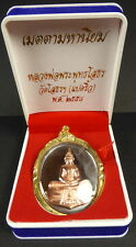 BLESSED LUANG PHOR SOTHORN BUDDHA AMULET COPPER + PHA YANT Temple WISHING Cloth.
