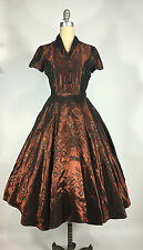 Vintage 1950's 50s Shiny Copper full circle skirt floral Taffeta Evening dress