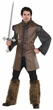 Adult Medieval Tunic Brown Mens Viking Warrior Fancy Dress Costume Outfit New