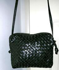 LISETTE LOVELY VINTAGE BLACK WOVEN LEATHER CROSSBODY SHOULDER BAG