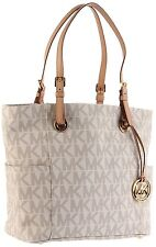 Michael Kors Jet Set Travel  Signature Logo Print East West EW Tote (Vanilla)