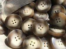 """50 CHUNKY/THICK CUT IMITATION HORN BUTTON COAT SIZE  30mm 1 1/4""""  4hole"""