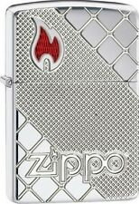 Zippo 29098 armor high polish chrome deep carved red epoxy flame Lighter